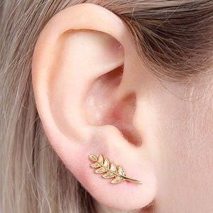 Goldtone Leaf Ear Climbers Small